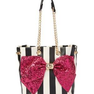 NWT Betsey Johnson Fuchsia Stripped Drawstring Bag